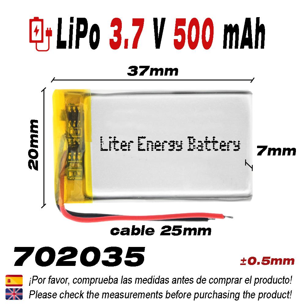 DronePost Bater/ía 503035 LiPo 3.7V 500mAh 1S para tel/éfono port/átil v/ídeo mp3 mp4 luz led